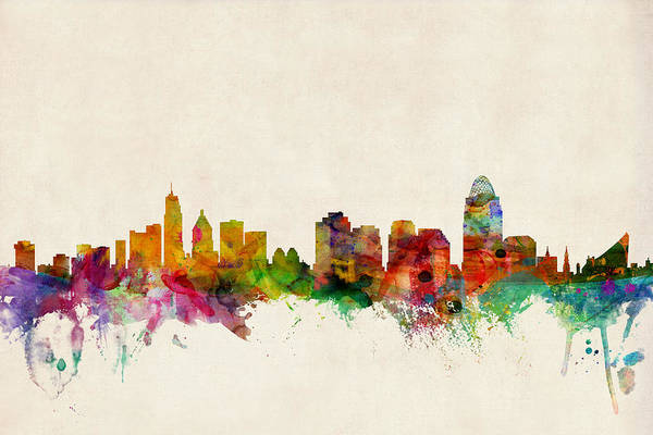 Watercolour Art Print featuring the digital art Cincinnati Ohio Skyline by Michael Tompsett