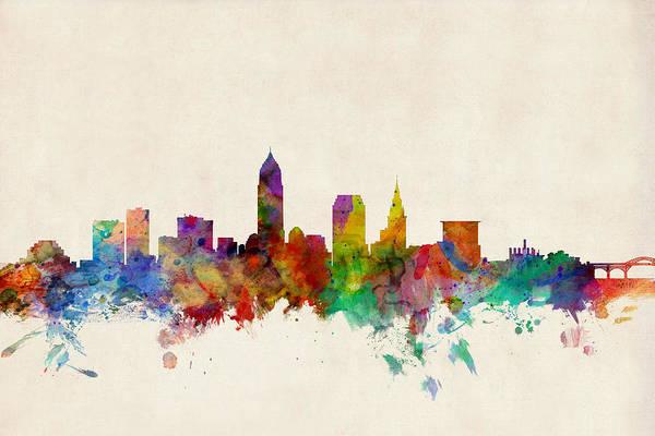 Watercolour Art Print featuring the digital art Cleveland Ohio Skyline by Michael Tompsett