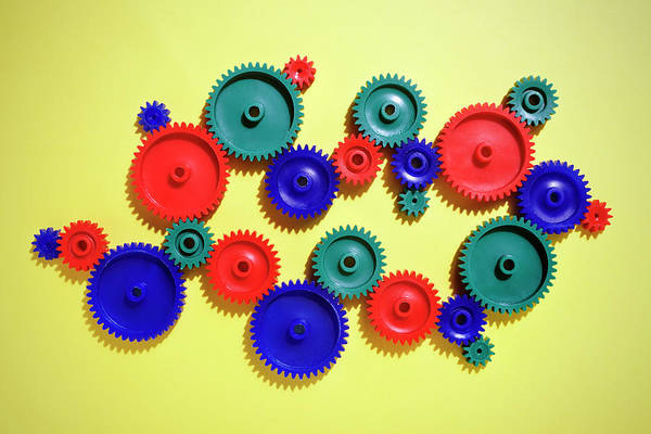 Working Art Print featuring the photograph Colored Gears by Joseph Clark