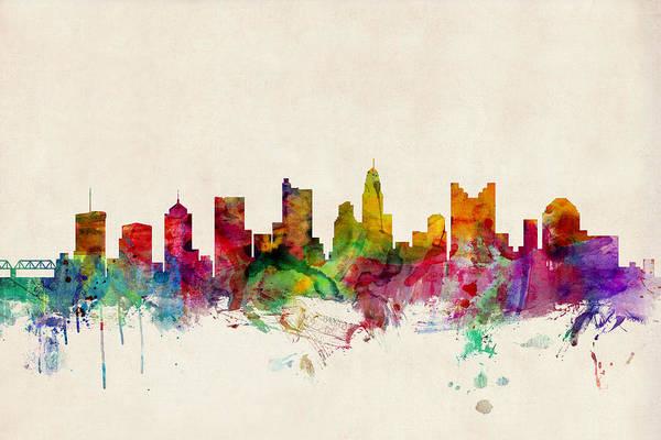 Watercolour Art Print featuring the digital art Columbus Ohio Skyline by Michael Tompsett