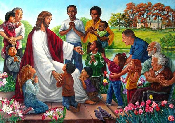 Children Art Print featuring the painting Come Unto Me by John Lautermilch