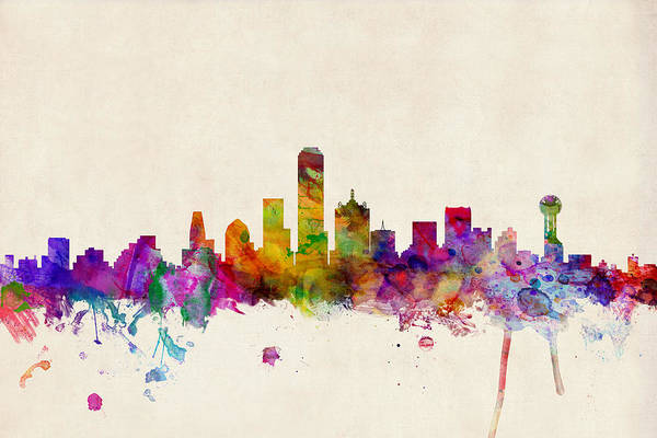 Watercolour Art Print featuring the digital art Dallas Texas Skyline by Michael Tompsett