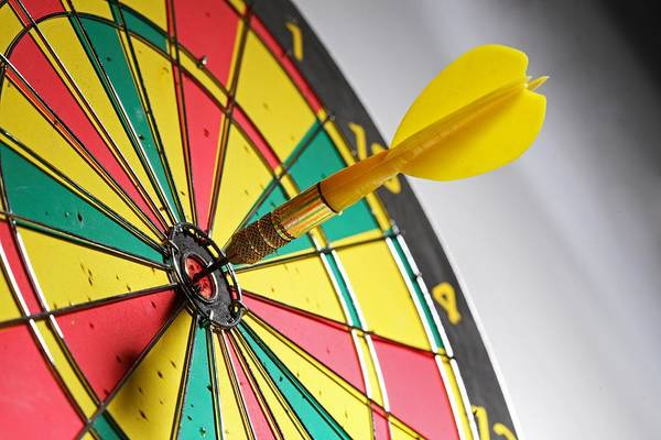 Scoring Art Print featuring the photograph Dart On A Dartboard by Visage