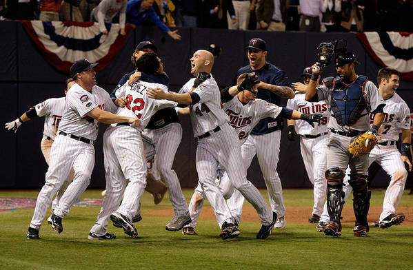 Hubert H. Humphrey Metrodome Art Print featuring the photograph Detroit Tigers v Minnesota Twins by Jamie Squire