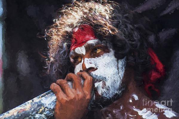 Aboriginal Didgeridoo Player Art Print featuring the photograph Didgeridoo player by Sheila Smart Fine Art Photography