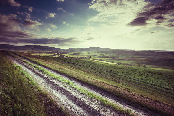 Steppe Art Print featuring the photograph Dirt Track In Tuscany by Xavierarnau