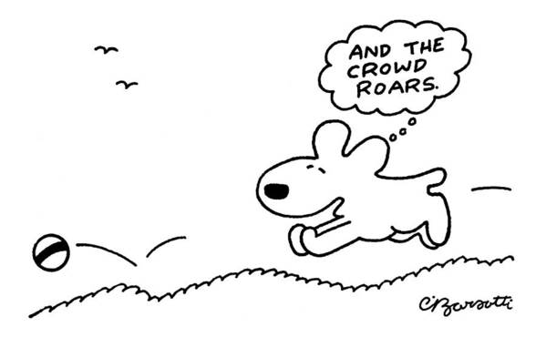 Dog Art Print featuring the drawing Dog Chases After A Ball by Charles Barsotti