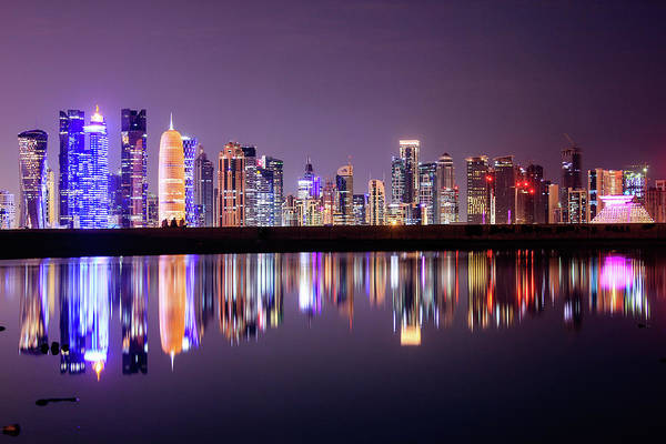 West Bay Art Print featuring the photograph Doha Skyscrapers by Photography By Lubaib Gazir