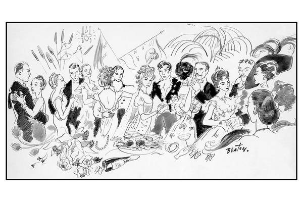 Illustration Art Print featuring the digital art Drawing Of The London Society Dancing Night Away by Cecil Beaton