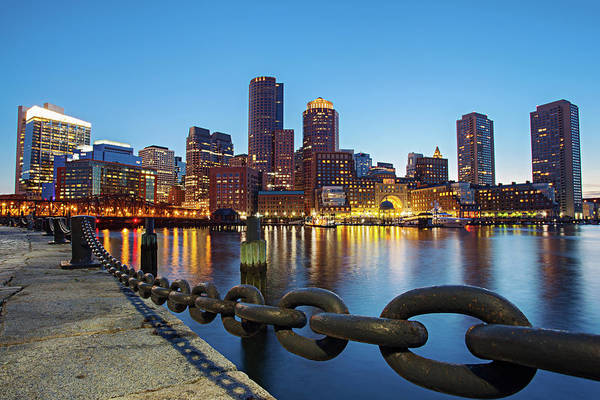 Clear Sky Art Print featuring the photograph Dusk In Boston by Photography By Nick Burwell