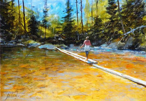 Mountain Stream Art Print featuring the painting Easy does it by Greg Clibon