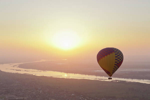 Luxor Art Print featuring the photograph Egypt, View Of Hot Air Balloon Over by Westend61