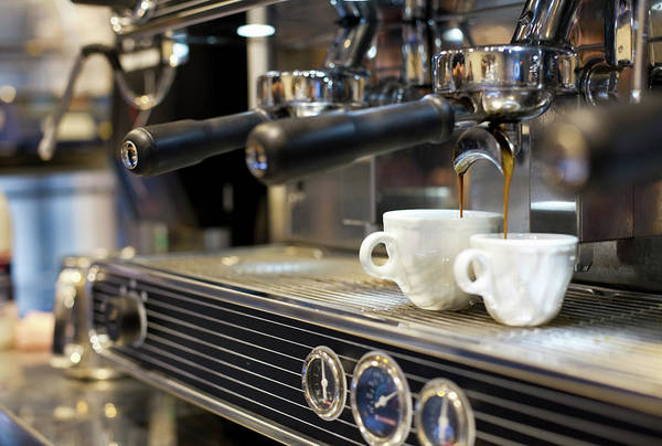 Making Art Print featuring the photograph Espresso Machine Pouring Coffee Into by Kathrin Ziegler