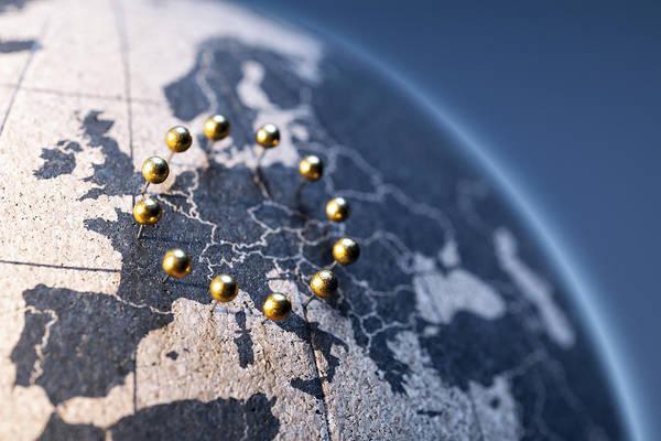 Globe Art Print featuring the photograph European Union - Golden pins on cork board globe by ThomasVogel