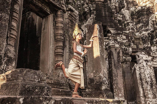 Hinduism Art Print featuring the photograph Female Apsara Dancer, Standing On One by Cultura Exclusive/gary Latham