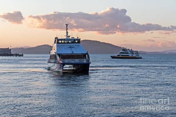 Ferry Art Print featuring the photograph Ferries At Sunset by Kate Brown