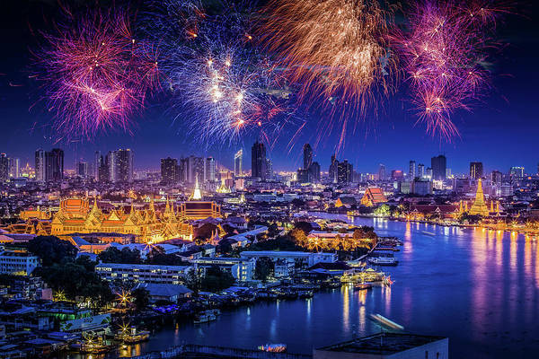 Mother's Day Art Print featuring the photograph Fireworks Above Bangkok City by Natapong Supalertsophon