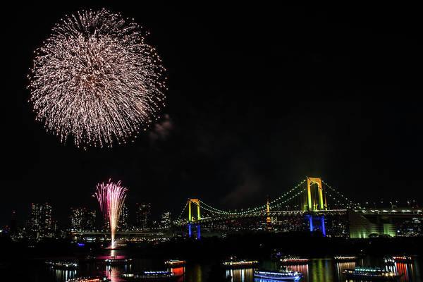Firework Display Art Print featuring the photograph Fireworks At Rainbow Bridge by ©alan Nee
