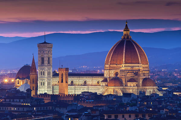 Built Structure Art Print featuring the photograph Florence Catherdral Duomo And City From by Richard I'anson