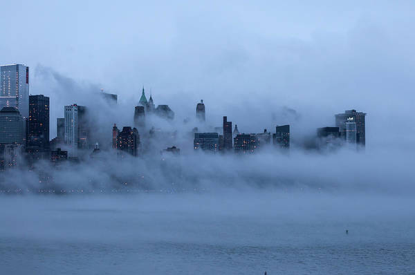 Dawn Art Print featuring the photograph Foggy New York City by Laverrue Was Here
