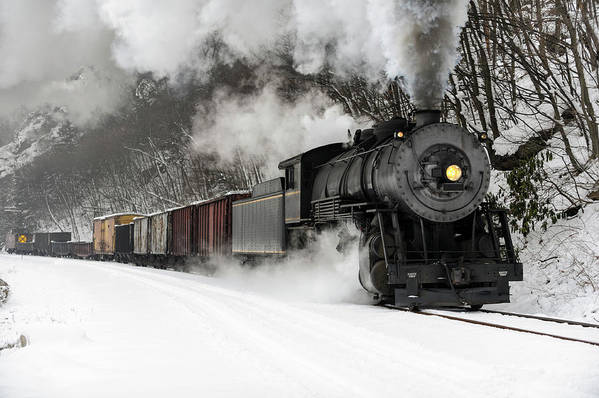 Scenics Art Print featuring the photograph Freight Train With Steam Locomotive by Catnap72
