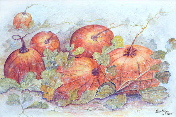 Pumpkin Patch Art Print featuring the painting Frost on the Pumpkin by Ben Kiger