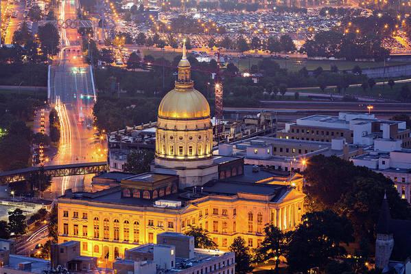 Atlanta Art Print featuring the photograph Georgia State Capitol At Night by Ryan Murphy