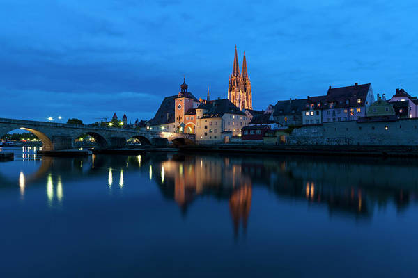 Built Structure Art Print featuring the photograph Germany, Bavaria, Regensburg, View Of by Westend61