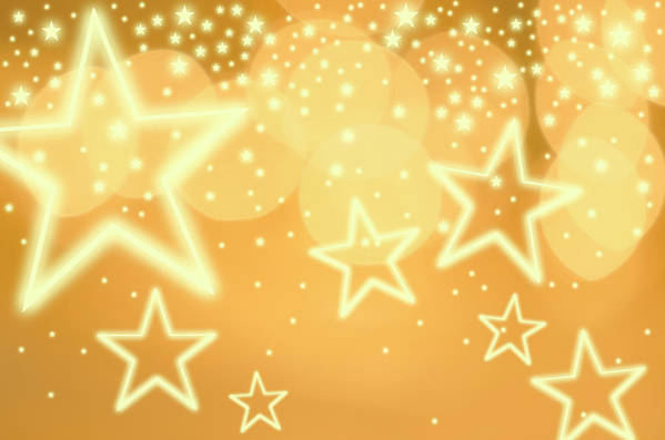 Christmas Lights Art Print featuring the photograph Glowing Background With Stars, Studio by Tetra Images