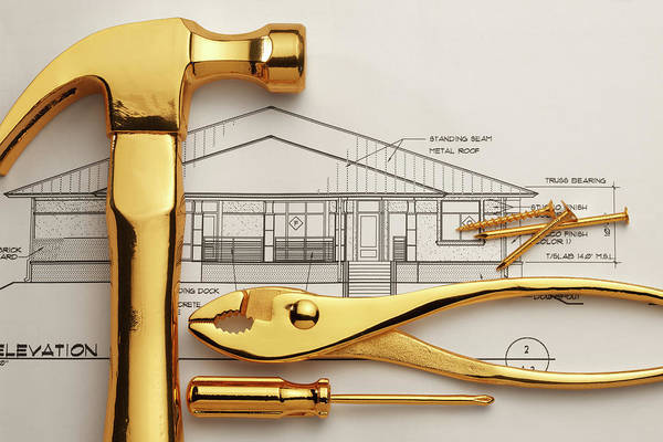 Plan Art Print featuring the photograph Gold Plated Tools And Blueprints by Dny59