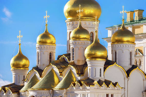 Annunciation Art Print featuring the photograph Golden Domes Of The Russian Church by Mordolff