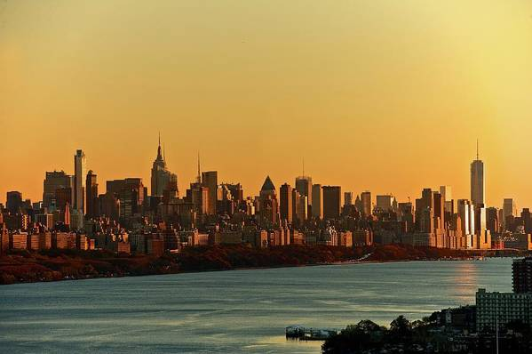Tranquility Art Print featuring the photograph Golden Sunset On Nyc Skyline by Robert D. Barnes