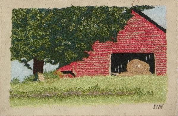 Fiber Art Print featuring the mixed media Hay Barn by Jenny Williams