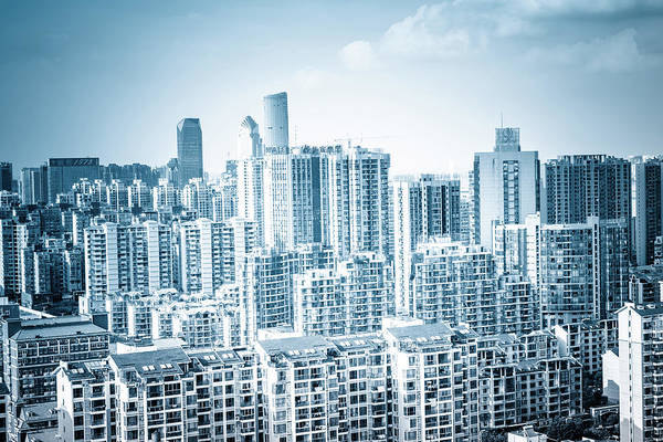 Residential District Art Print featuring the photograph High Rise Residential Area by Aaaaimages