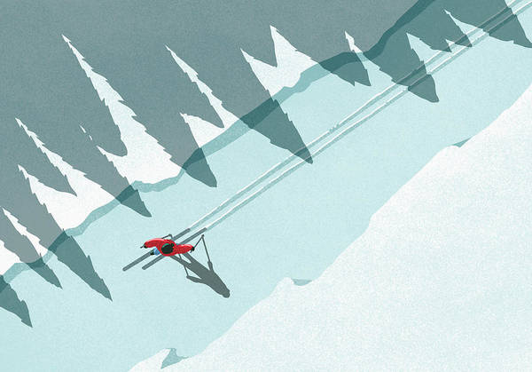 Ski Pole Art Print featuring the digital art Illustration Of Man Skiing During by Malte Mueller