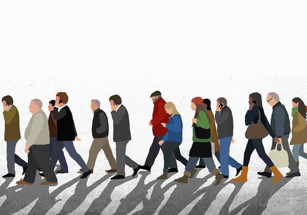 Shadow Art Print featuring the digital art Illustration Of People Walking On by Malte Mueller
