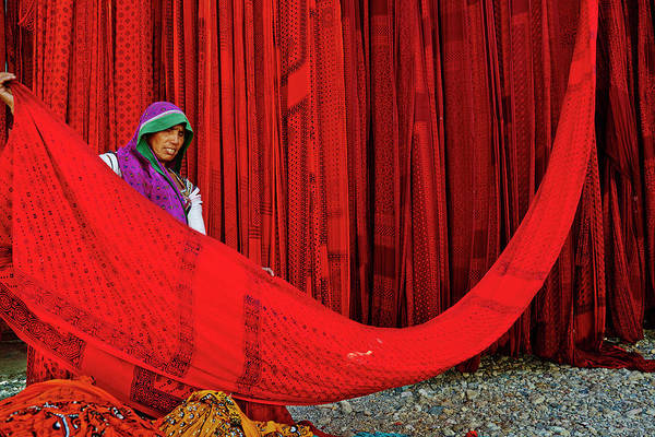 Expertise Art Print featuring the photograph India, Rajasthan, Sari Factory by Tuul & Bruno Morandi