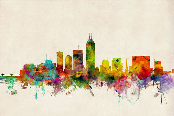 Watercolour Art Print featuring the digital art Indianapolis Indiana Skyline by Michael Tompsett