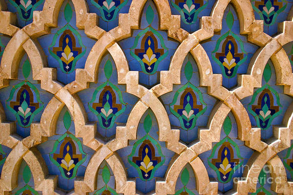 Zelij Art Print featuring the photograph Intricate Zelji at the Hassan II Mosque Sour Jdid Casablanca Morocco by PIXELS XPOSED Ralph A Ledergerber Photography