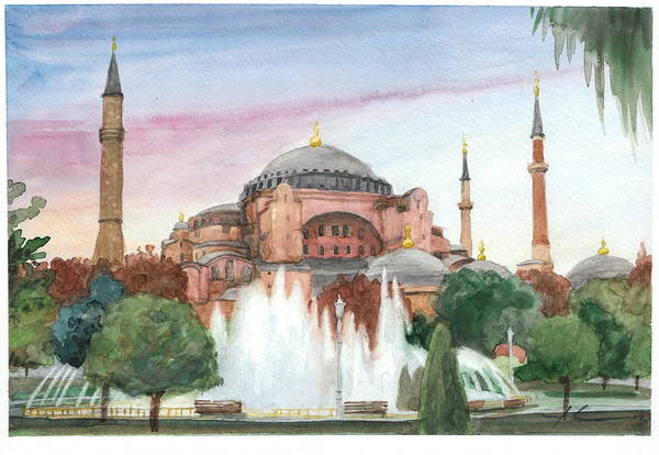 <a Href=http://miketheuer.com Target =_blank>www.miketheuer.com</a> Istanbul Mosque Watercolor Painting Art Print featuring the drawing Istanbul Mosque Watercolor Painting by Mike Theuer