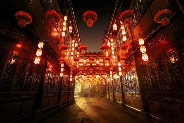 Chinese Culture Art Print featuring the photograph Jinli Street, Chengdu, Sichuan, China by Kiszon Pascal