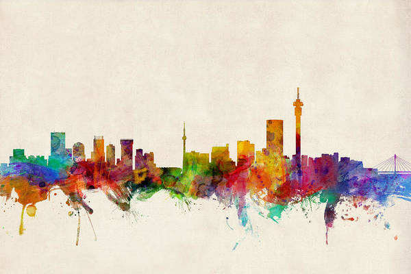 City Skyline Art Print featuring the digital art Johannesburg South Africa Skyline by Michael Tompsett