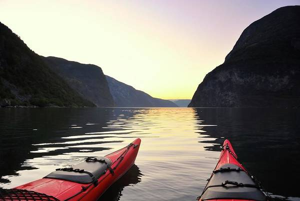 Scenics Art Print featuring the photograph Kayak In Norway by Sjo