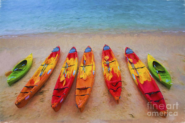 Kayaks Art Print featuring the photograph Kayaks at Manly by Sheila Smart Fine Art Photography