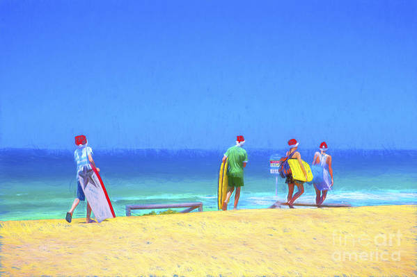 Children In Santa Hats Art Print featuring the photograph Kids in santa hats at beach by Sheila Smart Fine Art Photography