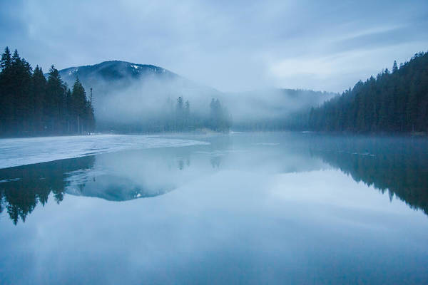 Scenics Art Print featuring the photograph Lake Surrounded By Mountains And Forest by Verybigalex