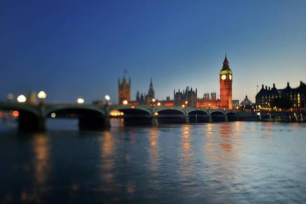 Tranquility Art Print featuring the photograph London, Palace Of Westminster At Sunset by Vladimir Zakharov