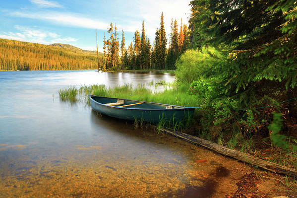 Tranquility Art Print featuring the photograph Lone Canoe On Shores Of Upper Payette by Anna Gorin