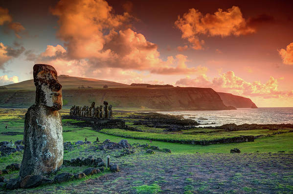 Tranquility Art Print featuring the photograph Lone Moai At Tongariki by Marko Stavric Photography