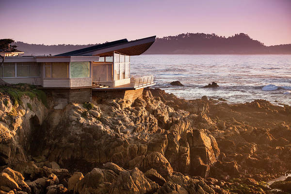 Water's Edge Art Print featuring the photograph Luxury Home Overlooks The Big Sur by Pgiam